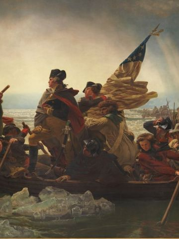 """Major historical events were immortalized in painting, such as in """"Washington Crossing the Delaware"""" (pictured) by Emanuel Gottlieb Leutze."""