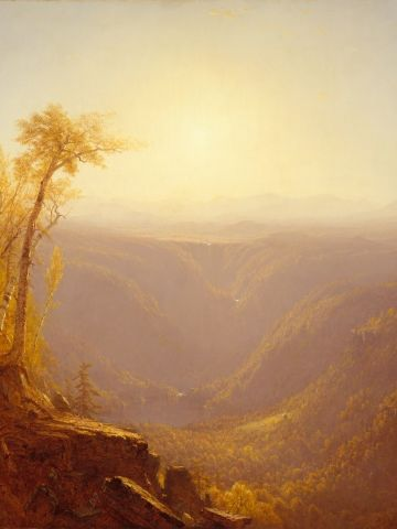 """The great wilderness is celebrated in """"Kauterskill Clove,"""" pictured here, by Sanford Robinson Gifford."""