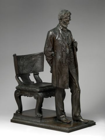 This bronze statue of Abraham Lincoln was recently acquired by the Museum and portrays the President deep in thought.