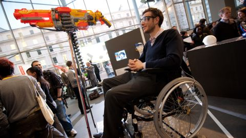 """Students in London have designed some novel solutions to improve sports participation for disabled athletes. This prototype is called """"Headshot"""" and lets severely disabled athletes compete with the able-bodied in clay-pigeon shooting. Aiming and firing is controlled by a specially designed headset."""