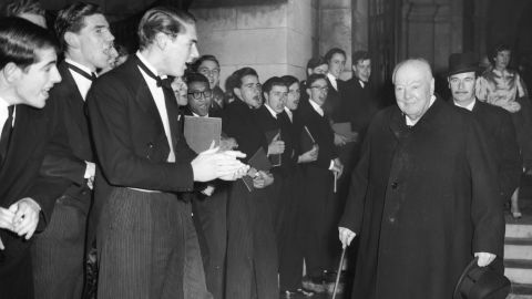 """Winston Churchill, seen at Harrow School in 1958, gave a stirring wartime address there in 1941: """"Never give in. Never give in. Never, never, never, never -- in nothing, great or small, large or petty -- never give in, except to convictions of honor and good sense. Never yield to force. Never yield to the apparently overwhelming might of the enemy."""""""