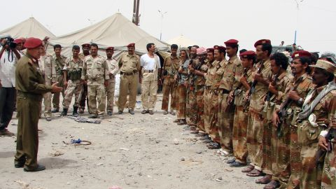 Yemeni General Ali Salah, deputy chief of staff for military operations, visits soldiers in Yemen's restive Abayan province on March 6.
