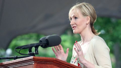 """""""Harry Potter"""" author J.K. Rowling speaks at Harvard's commencement in 2008. """"Imagination is not only the uniquely human capacity to envision that which is not, and therefore the fount of all invention and innovation. In its arguably most transformative and revelatory capacity, it is the power that enables us to empathize with humans whose experiences we have never shared."""""""