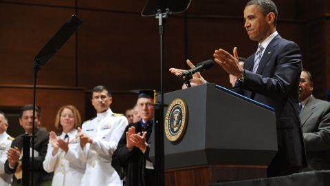 """President Obama gives a commencement address last year to the U.S. Coast Guard Academy's graduating class. Some remarks: """"When tough times inevitably come ... we do what Americans have always done.  We remember our moral compass, that we are citizens with obligations to each other; that we all have responsibilities; that we're all in this together; that we rise and fall as one."""""""