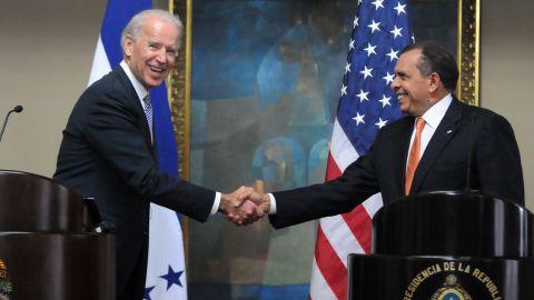 U.S. Vice President Joseph Biden, left, meets with Honduran President Porfirio Lobo to discuss drug trafficking.