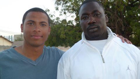 CNN's Errol Barnett with Senegalese wrestling star Gris Bordeaux.
