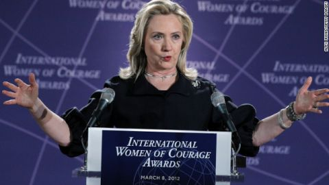 Hillary Clinton speaks during the presentation ceremony of the International Women of Courage Awards March 8, 2012.