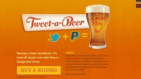 """""""Tweet-A-Beer"""" sends $5 to your friend's Paypal account."""