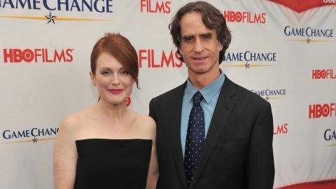 """Julianne Moore, who plays Sarah Palin in """"Game Change,"""" and director Jay Roach attend a screening of the movie Wednesday."""