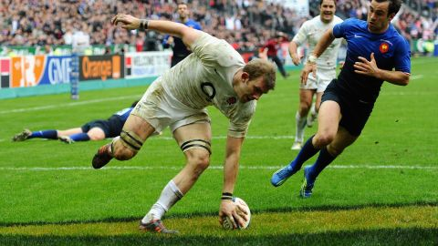 Tom Croft crosses the line for England in their superb 24-22 victory over France in Paris.