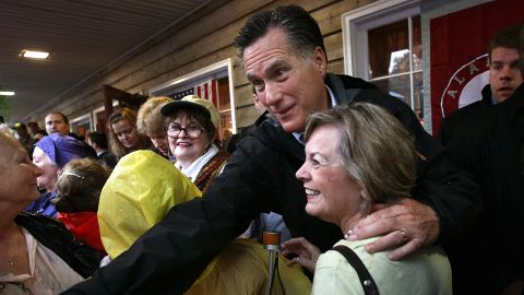 Mitt Romney greeting supporters at a campaign stop in Mobile, Alabama, on March 12.