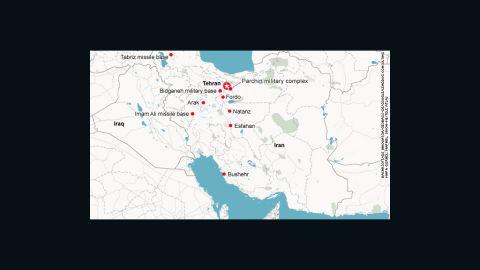 Possible targets of an Israeli air strike in Iran.