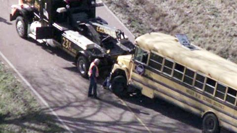 This school bus overturned in Washington County, Missouri, which is southwest of St. Louis.