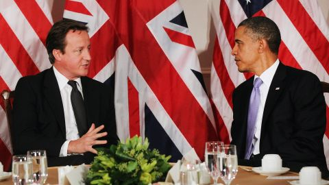 British Prime Minister David Cameron and U.S. President Barack Obama meet in New York in September 2011.