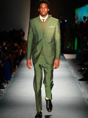 A model wears Ozwald Boateng.