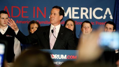 LAFAYETTE, LA - MARCH 13:  Republican presidential candidate, former U.S. Sen. Rick Santorum addresses supporters after winning the both Alabama and Mississippi primaries on March 13, 2012 in Lafayette, Louisiana. LouisianaÕs primary will be decided on March 24th. (Photo by Sean Gardner/Getty Images)