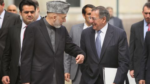 Afghan President Karzai and U.S. Secretary of Defense Panetta in Kabul, Afghanistan on March 15, 2012.
