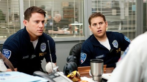 """""""Channing [Tatum, left] walks away with this movie because you've never seen him do anything like this before,"""" says Jonah Hill."""