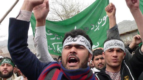 Afghan protesters shout anti-U.S. slogans during a demonstration Tuesday in Jalalabad, Afghanistan.