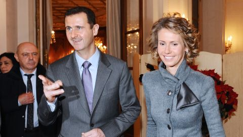 Bashar al-Assad and his wife Asma at an exhibition in Paris in 2010.