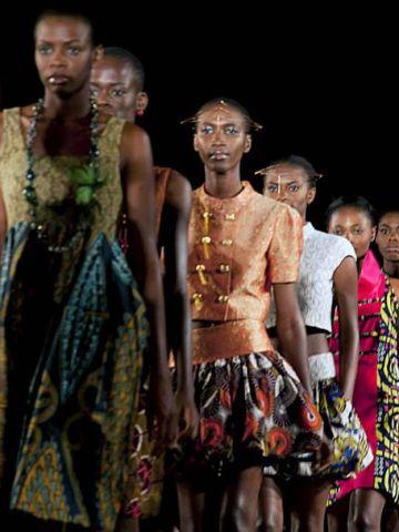Models wear Nigerian-Italian label Kinabuti on the runway.