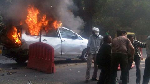 The bombing of an Israeli Embassy car in New Delhi on February 13 left several people wounded.