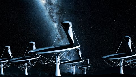 Radio telescopes explore the universe by radio-frequency radiation.