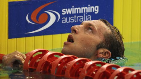 Ian Thorpe looks disappointed after finishing his semifinal of the Australian Olympic trials over 200m freestyle.