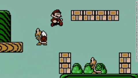 """Images from """"Super Mario Brothers 3"""" are part of the Smithsonian American Art Museum's """"The Art of Video Games"""" installation."""