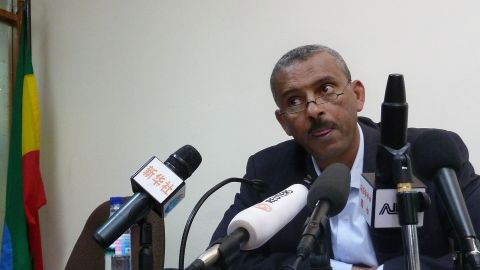 Ethiopian government spokesperson Shimeles Kemal speaks in Addis Ababa on March 15, 2012.