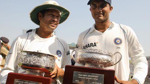 Tendulkar, left, became Test cricket's highest runscorer in October 2008 when he passed Brian Lara's previous record of 11,953 during a home series against Australia.