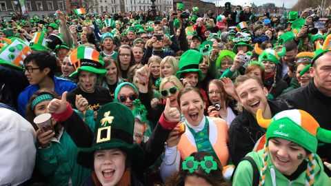 Attendees enjoy the annual parade in Dublin, Ireland, on Saturday, March 17. More than 100 parades will be held across the country to celebrate St. Patrick's Day.