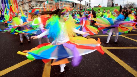 Young girls perform during the parade on Saturday. The holiday is celebrated annually on March 17, the day the patron saint died in 461. British-born Patrick is responsible for converting the people of Ireland to Christianity after escaping slavery there.