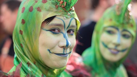 A parade-goer takes part in the St Patrick's Day festivities in Dublin, Ireland, on Saturday. More than 100 parades are being held across Ireland in honor of the nation's patron saint, with up to 650,000 spectators expected in Dublin.