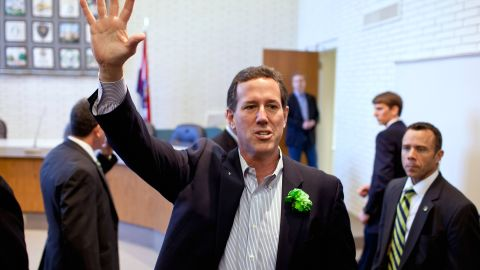 BALLWIN, MO - MARCH 17: Republican presidential candidate, former U.S. Sen. Rick Santorum waves to supporters and caucus voters during a campaign stop March 17, 2012 in Ballwin, Missouri. Rick Santorum will compete in Missouri's caucus today after winning a non-binding primary held in the state on February 7. (Photo by Whitney Curtis/Getty Images)