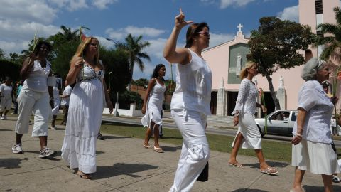 """Members of the """"Ladies in White"""" march every Sunday to protest against the Cuban government."""