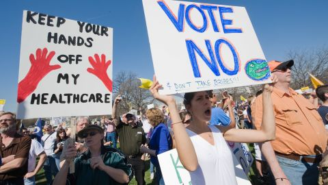 Tea party supporters protest against the health care bill in March 2010 outside the U.S. Capitol in Washington.