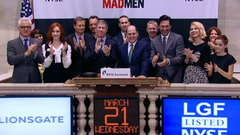 The cast of 'Mad Men' along with Lionsgate executives and exec. prod. Matthew Weiner ring the NYSE Opeing Bell, March 21, 2012.