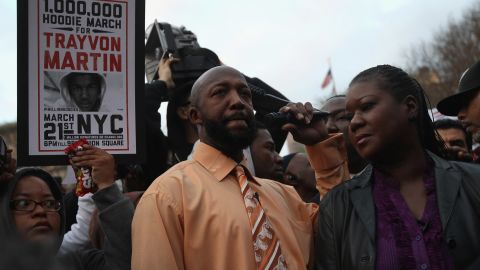 Tracy Martin and Sybrina Fulton address supporters at the Million Hoodies March on Wednesday in New York.
