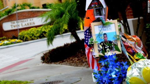 A memorial to Trayvon Martin outside The Retreat at Twin Lakes community where he was shot by George Zimmerman.