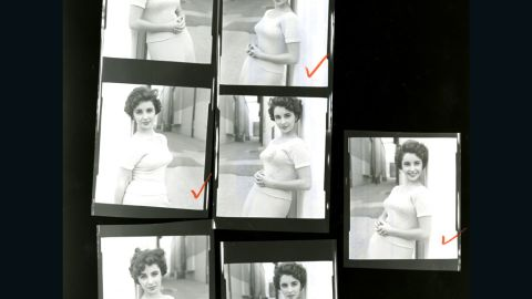 """Shown here is a close-up of a contact sheet with pictures of Taylor on the set of """"A Place in the Sun."""" <a href=""""http://life.time.com/culture/elizabeth-taylor-and-montgomery-clift-unpublished-photos/#1"""" target=""""_blank"""" target=""""_blank"""">View more unpublished images of Elizabeth Taylor at Life.com.</a>"""
