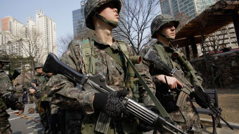 South Korean soldiers participate in a anti-terror exercise on March 9, 2012 in Seoul, South Korea.