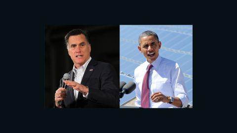 Barack Obama and MItt Romney speaking at different events