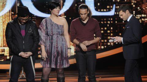"Heejun Han (left) and DeAndre Brackensick (right) joined Erika Van Pelt in the bottom three on ""American Idol."""