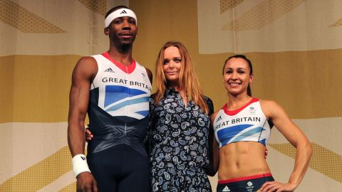 Stella McCartney (C) unveils the new British Olympic Team GB in London on March 22, 2012.