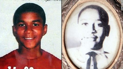 Some see similarities in the death of Trayvon Martin, left, and the 1955 killing of Emmett Till.