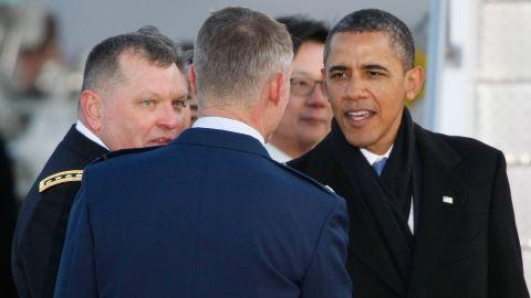 U.S. President Barack Obama arrives at Osan Air Base on March 25, 2012 in Osan, South Korea.