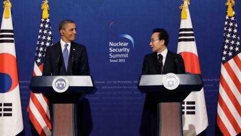 U.S. President Barack Obama and South Korean President Lee Myung-Bak hold a news conference in Seoul, South Korea.