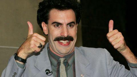 "Sasha Baron Cohen plays a Kazakh journalist who travels to the United States in the 2006 film ""Borat."""