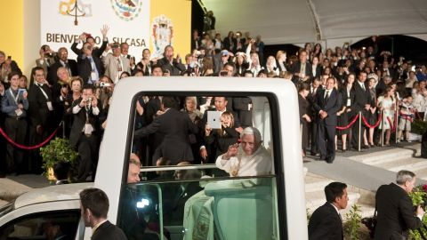 Pope Benedict XVI after a ceremony in which he was given the keys to the city in Guanajuato, Mexico, on March 24, 2012.